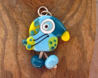 Willow - the  Lucky Bird Lampwork Glass Pendant Sterling Silver