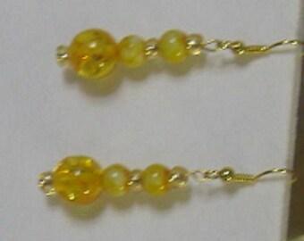 Yellow Glass Bead Earrings