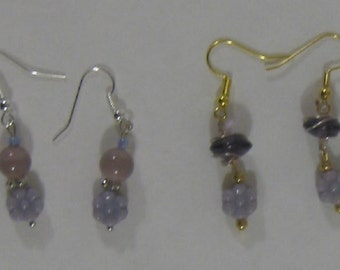 Lavender Floral Glass Bead Earrings