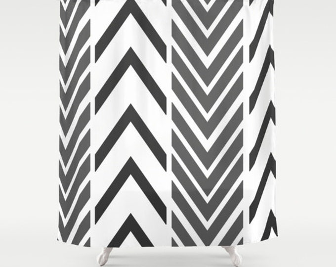 Black and White Shower Curtain - Black and White Arrow Art Shower Curtain - Bathroom Decor - Made to Order