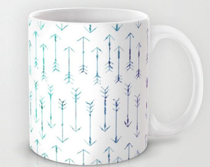 Coffee Mug - Small Teal Arrows  - Hand Drawn Arrows - 11 oz Mug - 15 oz Mug - Original Art - Ceramic Coffee Cup - Made to Order