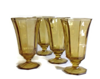 Vintage 1960's Glasses Independence Octagonal Amber Footed Water Drinking Glasses Panel Glass