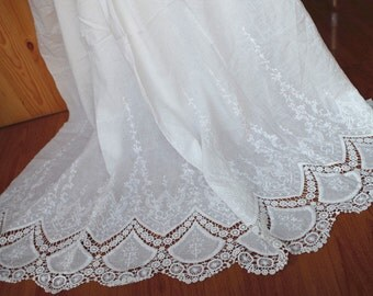 off white  Lace fabric, cotton lace fabric with scalloped lace border, embroidered bridal lace fabric
