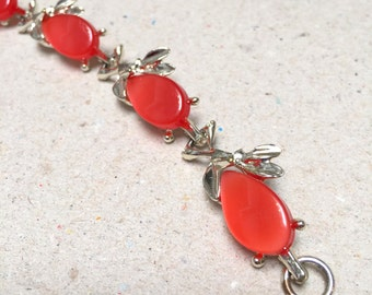 Vintage Red Thermoset Link Bracelet (retro 50s 60s silver tone plastic cabochon leaf leaves small dainty pretty bright colorful cute little)