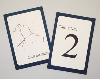 Constellation Table Number Cards for Astronomy / Science Wedding (set of 12)