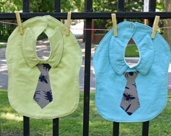 TWO Necktie and Dress Shirt Baby Bibs. Set of 2 (TWO) Large Green and Blue Flannel Baby Bibs.