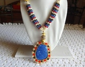 NEW!! Large Statement Pendant Necklace / Beaded Jewelry / Royal Blue