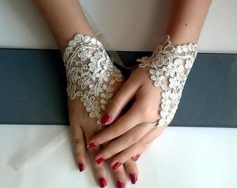 Wedding gloves bride glove bridal gloves lace gloves fingerless gloves Bridal Wrist Cuffs,Gold Lace Gloves wedding champagne bridal gloves