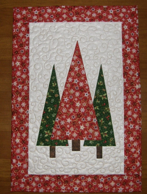 Christmas trees quilted wall hanging red green quilt