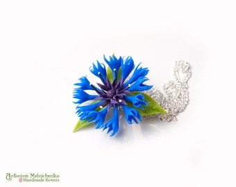 Pendant Cornflower - Polymer Clay Flowers