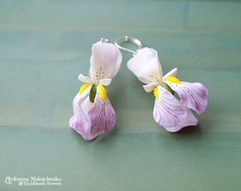 Earrings Iris - Polymer Clay Flowers