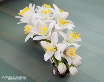 Barrette Fleurs D'Orange - Polymer Clay Flowers