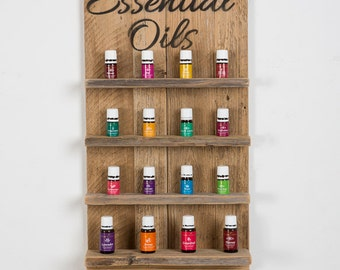Essential Oils Wall Hanging Display Shelves with Script