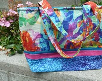 Teal Floral Hawaiian Tote Bag