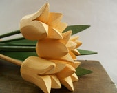 Swedish hand carved tulips Yellow Wooden tulips and leaves Set of 6 SPRING Home Garden decor Wooden flowers Handmade wood tulips