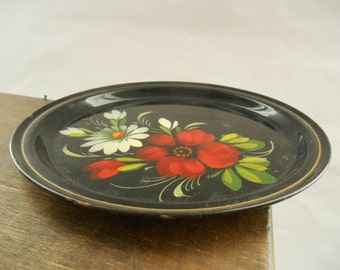 Soviet vintage enamel plate Round enamel floral plate Black red green plate Soviet collectible 1980s