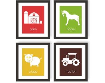 Farm Art, Baby Farm Animals, Red Barn, Tractor Wall Art, Barnyard, Farm Nursery Decor, Horse, Pig, Playroom Art, Baby room, Kids Room Decor