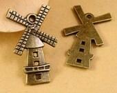 12pcs Old Farm Style Windmill Style Antique Bronze Windmill Charm Pendant
