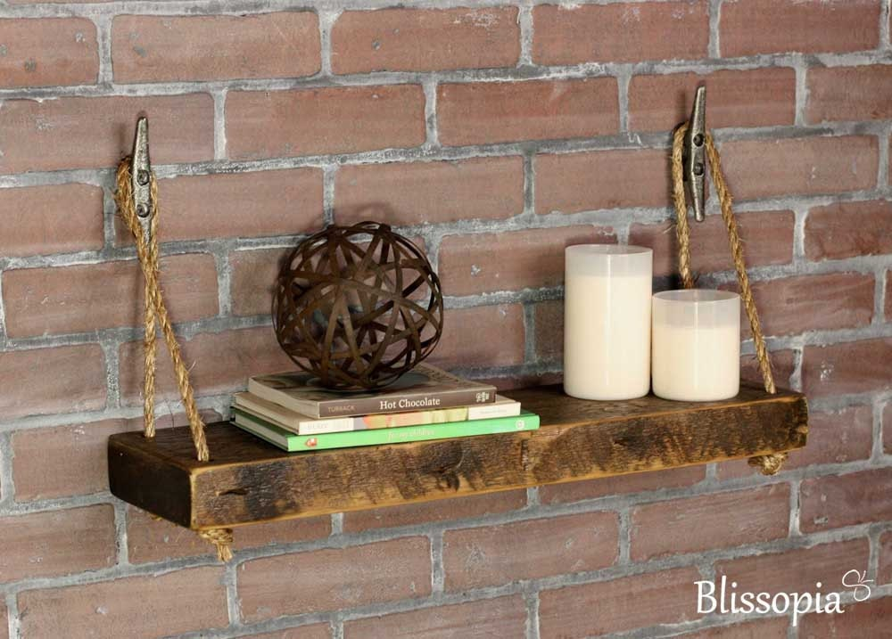 Rope Shelf With Boat Cleat Hangers Wood Wall Shelf