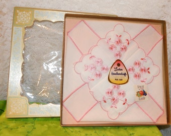 Gift Box set of 2 Fruit of the Loom Ladies Handkerchiefs / White with Pink Embroidery