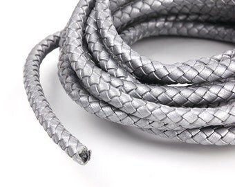 Silver 6mm Braided Leather Cord, Genuine Leather Cord For Leather Bracelet, Round Leather Cord, Pkg of 1 meter, D0FB.SI06.L1M