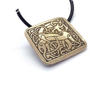 Handcrafted Raw Bronze Single Celtic Dog Pendant