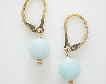 Amazonite on Gold Filled Leverback, Faceted Amazonite Gemstone, Natural Gemstone Jewellery
