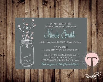 Mason Jar Invitation, Bridal Shower Invitation, Wedding Shower, Mason Jars, Chalkboard, invite, Invitation