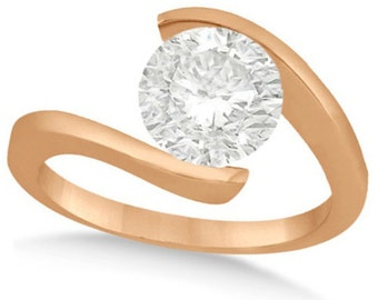 Tension Set Solitaire Diamond Engagement Ring 14k Rose Gold (2.00ct)