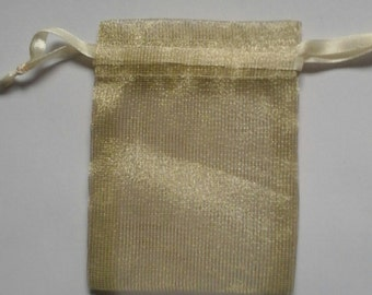 100 9x14 Champagne Organza bags, 9x14 inch wedding favor bags excellent quality