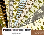 Dinosaur digital paper - Dinosaurs Jurassic background paper  - 12 digital papers (#159) INSTANT DOWNLOAD