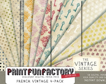 French digital paper - Discount pack Essential vintage French backgrounds - 48 digital papers (#157) INSTANT DOWNLOAD