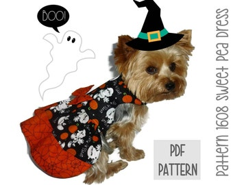 Halloween Dog Dress SEWING PATTERN * 1608 Sweet Pea Dog Dress * Dog Harness Dress * Pet Dress * Dog Apparel * Dog Halloween Costume