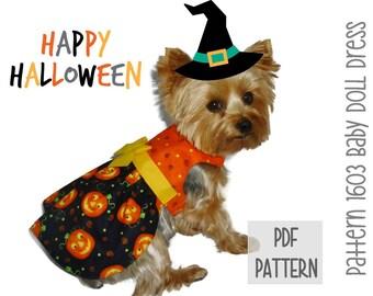 Halloween Dog Dress SEWING PATTERN * 1603 Baby Doll Dog Dress * Dog Harness Dress * Pet Dress * Dog Apparel * Dog Halloween Costume
