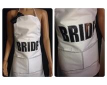 Bride apron. Rhinestone bridal apron. Bbq wedding.