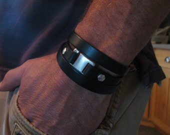 Men's Black Leather Bracelet-Genuine Italian Leather Wrap Bracelet- Triple Wrap