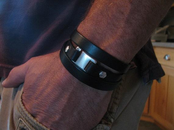 Back In Stock! Men's Black Leather Bracelet-Genuine Italian Leather Wrap Bracelet- Triple Wrap