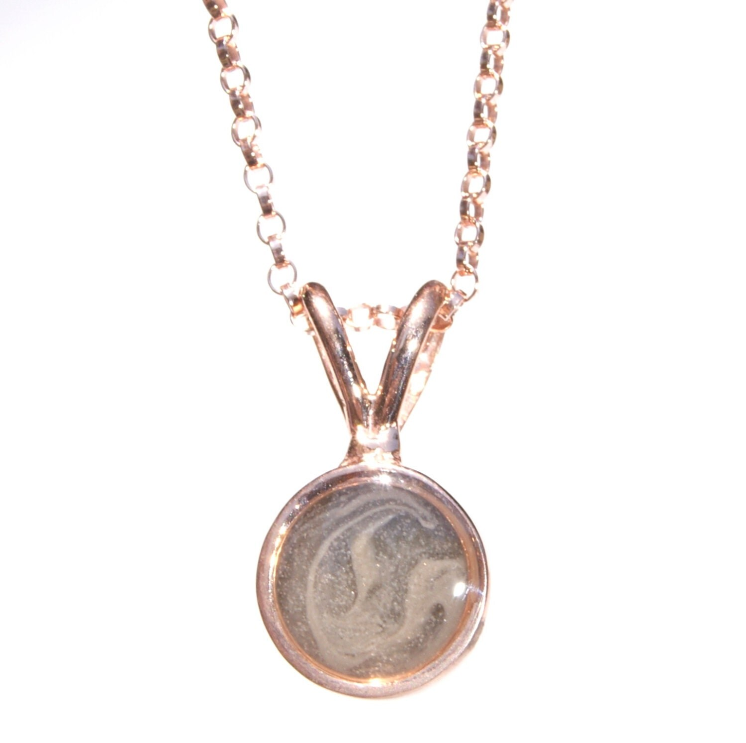 circle cremation pendant 8mm 14k gold pet ashes