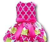 Dog Dress in Hot Pink Fabric with triple Layered Skirt