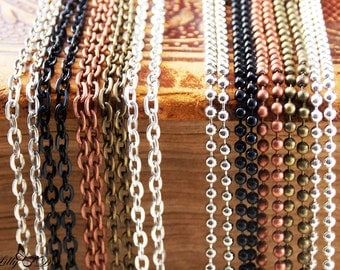 """50 DIY Pendant Chains with Connectors - Choose 24"""" (61cm) or 30"""" (76cm)  -5 Color Choices - DIY Crafts -Choose Vintage Chains or Ball Chains"""