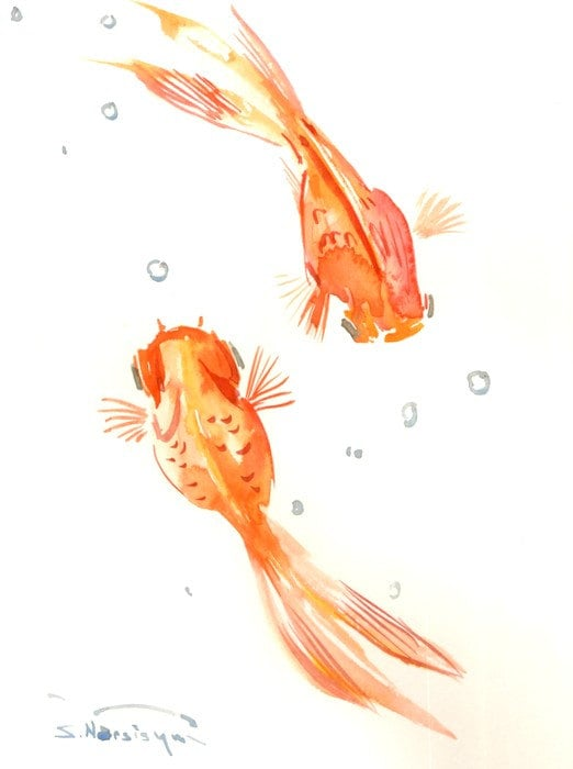 Two goldfish painting orange goldfish koi fish 12 by for Koi fish and goldfish