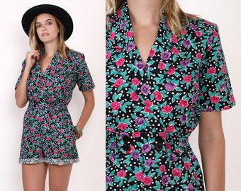 90's ROSES Florals Print ROMPER SHORTS Cotton Grunge Revival Summer Vintage Onesie Jumpsuit Small