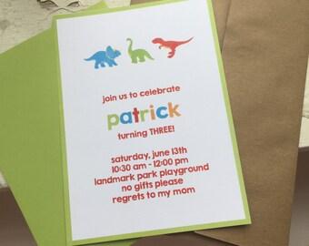 Dinosaur boys birthday invitations