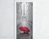 """Door Sticker • PARIS in the rain with umbrella and EIFFEL TOWER • Self-Adhesive Vinyl Decal • Door Wrap 30x79"""""""