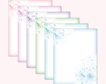 Printable Writing paper Stationery paper Letter writing letter paper letter stationary Digital download Printable paper Pastel floral Lily