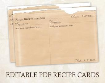 Editable recipe cards 4x6 Rustic recipe cards Editable PDF Printable recipe cards template recipe printable recipe template Old paper