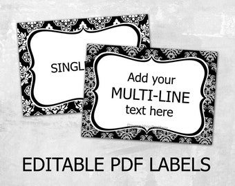 Editable Damask Labels Editable Labels For Mason Jars Label Template  Editable Tags Editable PDF Printable Diy  Label Design Templates