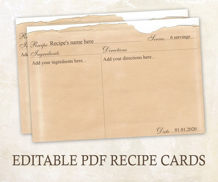 Editable recipe cards 4x6 rustic recipe cards editable pdf for Editable recipe card