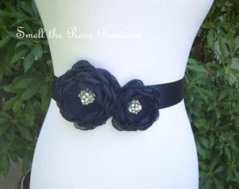 Navy Blue Bridal Flower Sash,Wedding Flower Sash Belt,Wedding Accessories,Bridal Freshwater Pearl Sash Belt