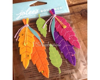 Jolee's Boutique Colorful Stitched Feathers ~   Dimensional Scrapbooking/craft stickers